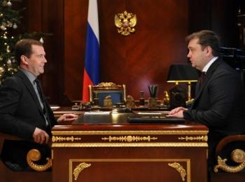 Председатель Правительства России Дмитрий Медведев встретился с губернатором Тверской области Андреем Шевелёвым