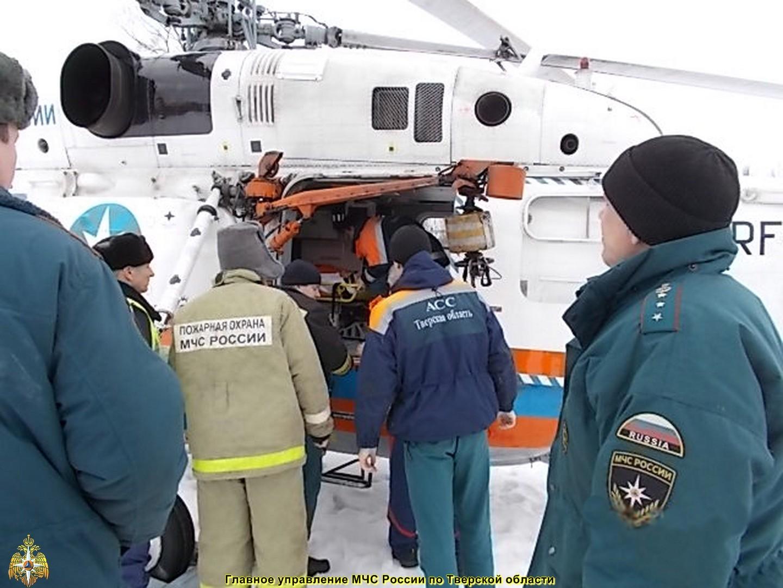 23 февраля санитарный вертолёт МЧС дважды вылетал для помощи пострадавшим